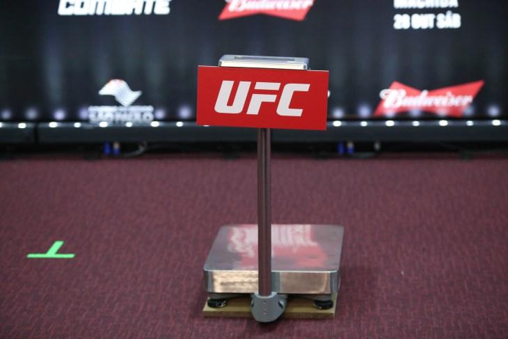São Paulo, São Paulo, Brazil, October 28, 2017. UFC Fight Night: Brunson vs. Machida. Weighing scale..