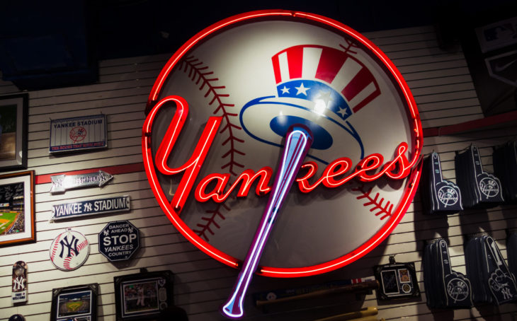 NEW YORK, NY – DECEMBER 9, 2017: Store front of New York Yankees team store on 5th Avenue in New York City