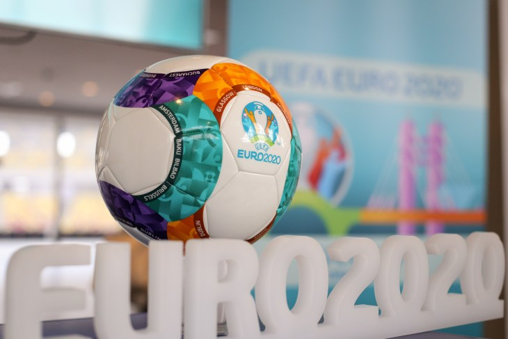 Bucharest, Romania - January 29, 2019: The 2020 UEFA European Football Championship (UEFA Euro 2020) logo and official ball during a press event on the National Arena Stadium in Bucharest.