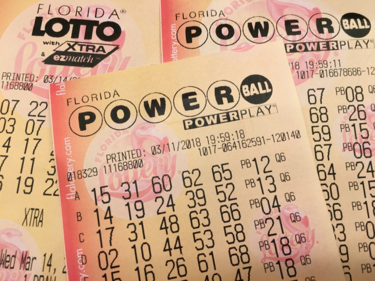 Florida Powerball and Lotto tickets Saint Augustine, Florida USA. March 18, 2018