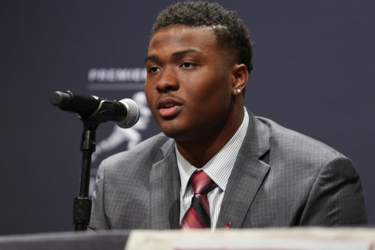 NEW YORK - DEC 8: Ohio State quarterback Dwayne Haskins during a press conference before the 84th Heisman Trophy Ceremony on December 8, 2018 at the New York Marriott Marquis in New York City.
