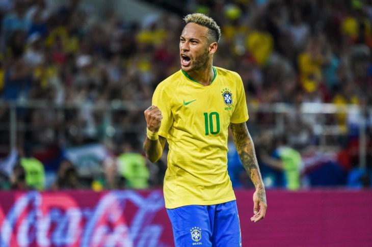 Moscow, Russia - June 27, 2018. Brazilian superstar Neymar during FIFA World Cup 2018 match Serbia vs Brazil.