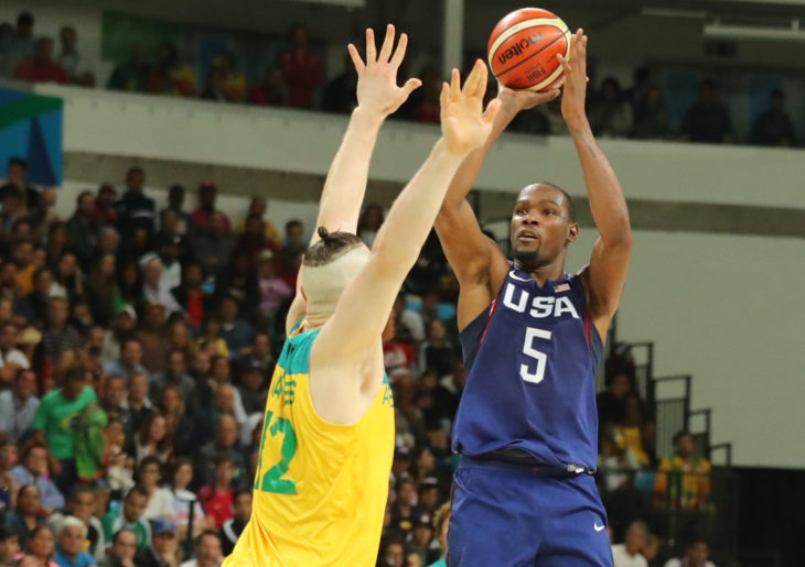 RIO DE JANEIRO, BRAZIL - AUGUST 12, 2016: Olympic champion Kevin Durant of Team USA in action at group A basketball match between Team USA and Australia of the Rio 2016 Olympic Games