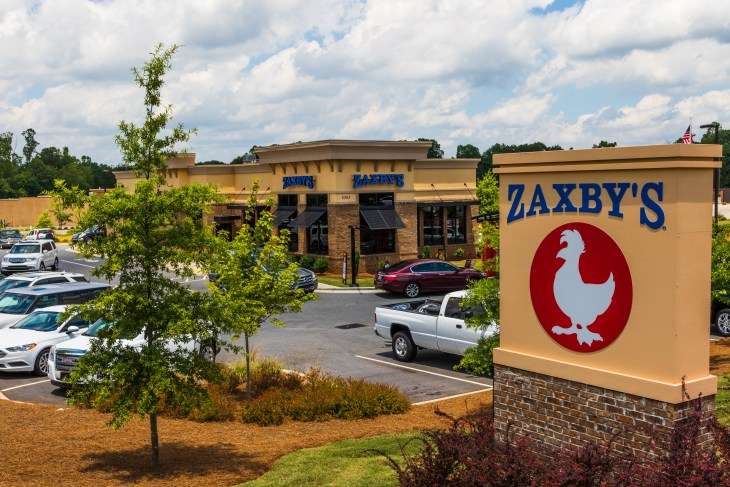 HICKORY, NC, USA-22 JUNE 18: Zaxby's is a chain of fast food restaurants selling chicken wings, chicken fingers, sandwiches and salads in over 800 locations, primarily in the US south.