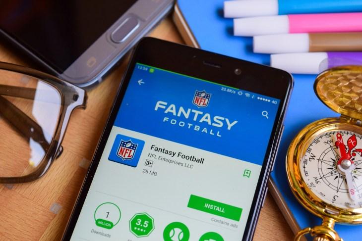 BEKASI, WEST JAVA, INDONESIA. SEPTEMBER 2, 2018 : Fantasy Football dev app on Smartphone screen. Fantasy Football is a freeware web browser developed by NFL Enterprises LLC