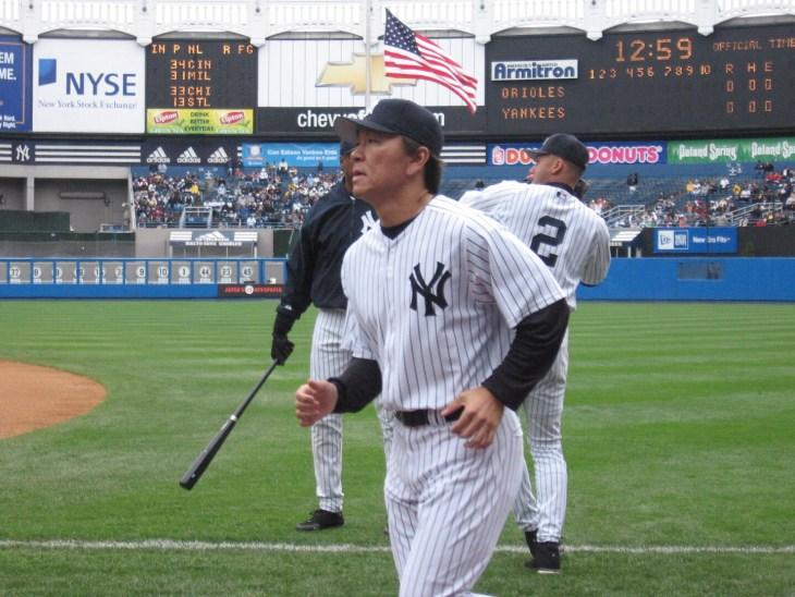 Hideki Matsui running to the dugout