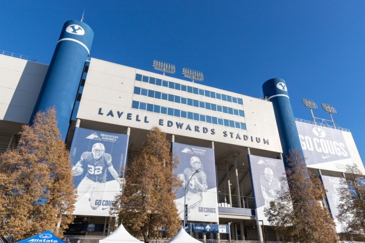 Provo, UT, USA - November 9, 2019: Lavell Edwards Stadium on the campus of Brigham Young University, primarily used for college football