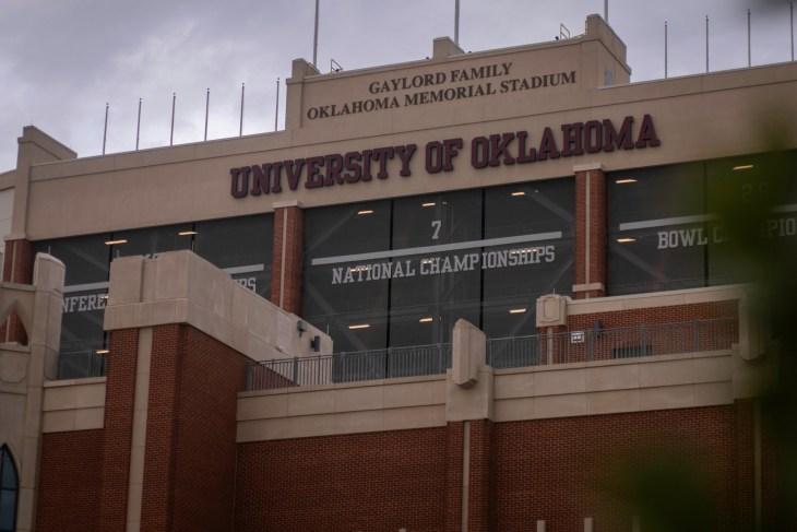 Norman, OK - November 12, 2020: University of Oklahoma Gaylord Family Oklahoma Memorial Stadium for NCAA Big 12 OU College Football