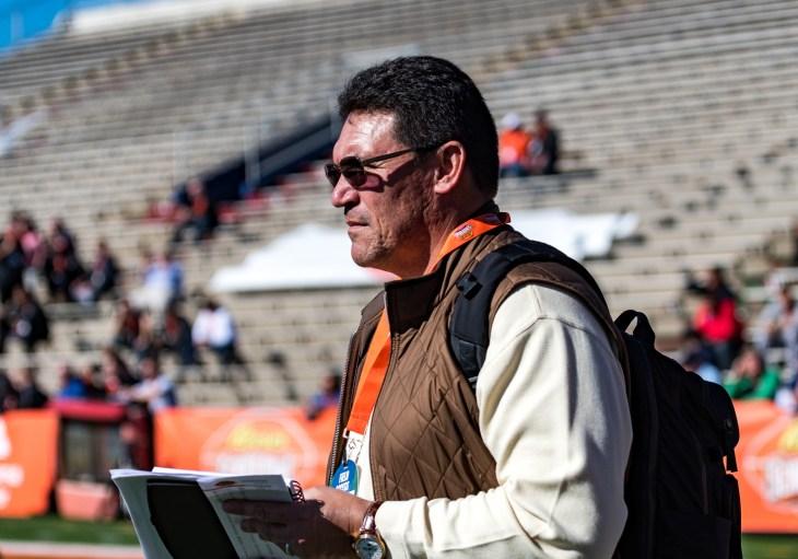 Mobile, ALABAMA, January 24, 2017: NFL Carolina Panthers Head Coach Ron Rivera attends a Reese's Senior Bowl practice at Ladd-Peebles Stadium.