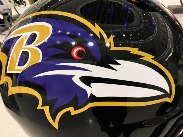 Minneapolis, MN/USA- January 10, 2018- Closeup of a Baltimore Ravens helmet on display in Minnesota.