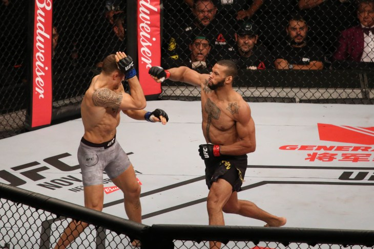 "São Paulo, São Paulo, Brazil, October 28, 2017. UFC Fight Night: Brunson vs. Machida. Average weight category fight – Thiago de Lima Santos ""Marreta"" vs. Jack Hermansson."