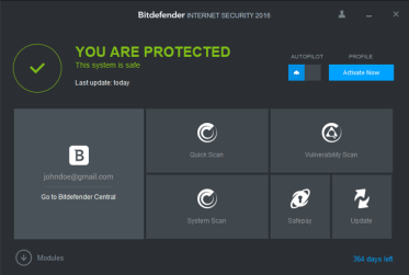 Bitdefener User Interface