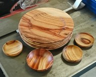 Plates and small dishes from Camphor Laurel