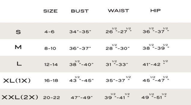 Size chart_kilo Brava