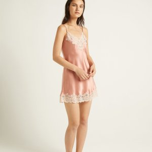 Silk Chemise with Lace trim