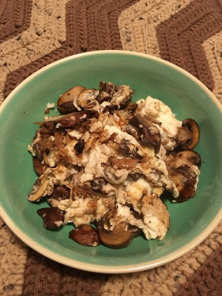 Egg Whites with Mushrooms cooked in a small amount of extra virgin olive oil. YUM!