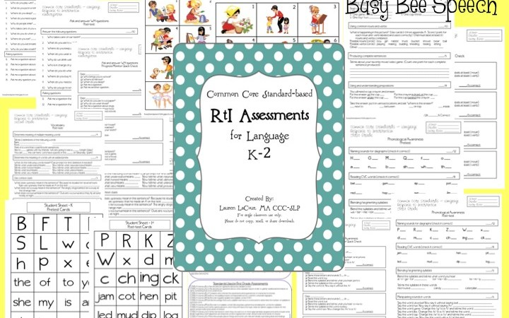 Common Core Standards-Based RtI Packet for Language