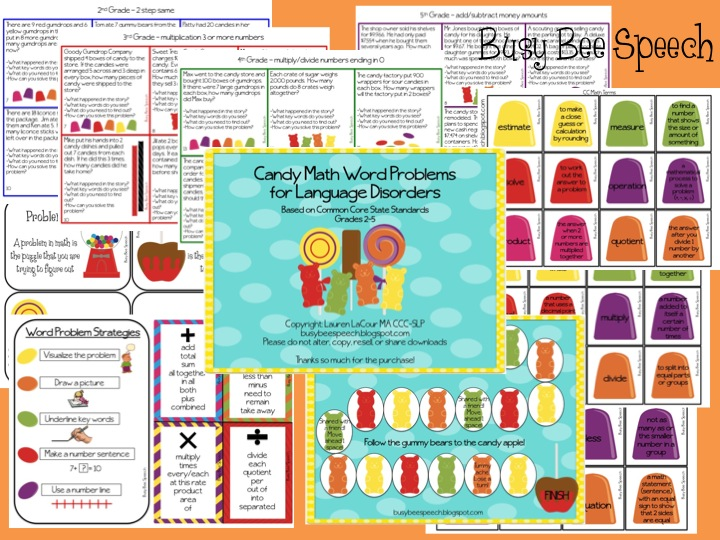Candy Math Word Problems for Language Disorders - Busy Bee Speech