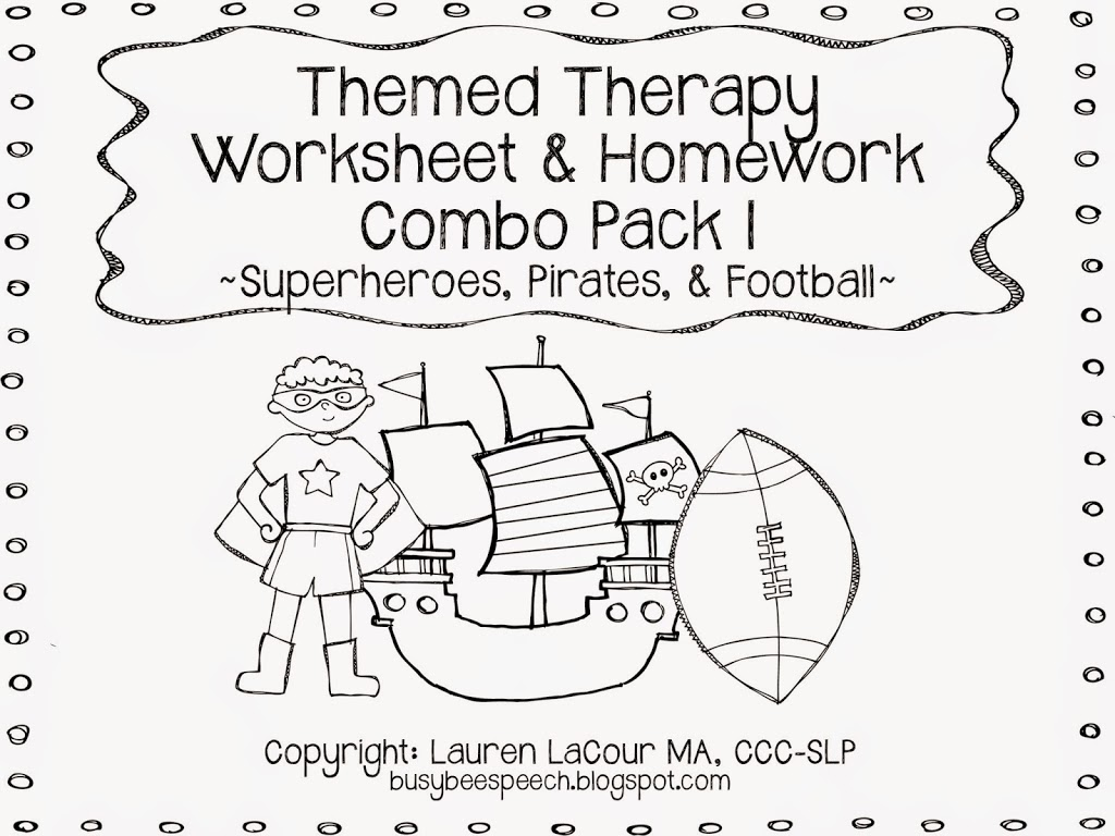 Themed Therapy Worksheet Combo