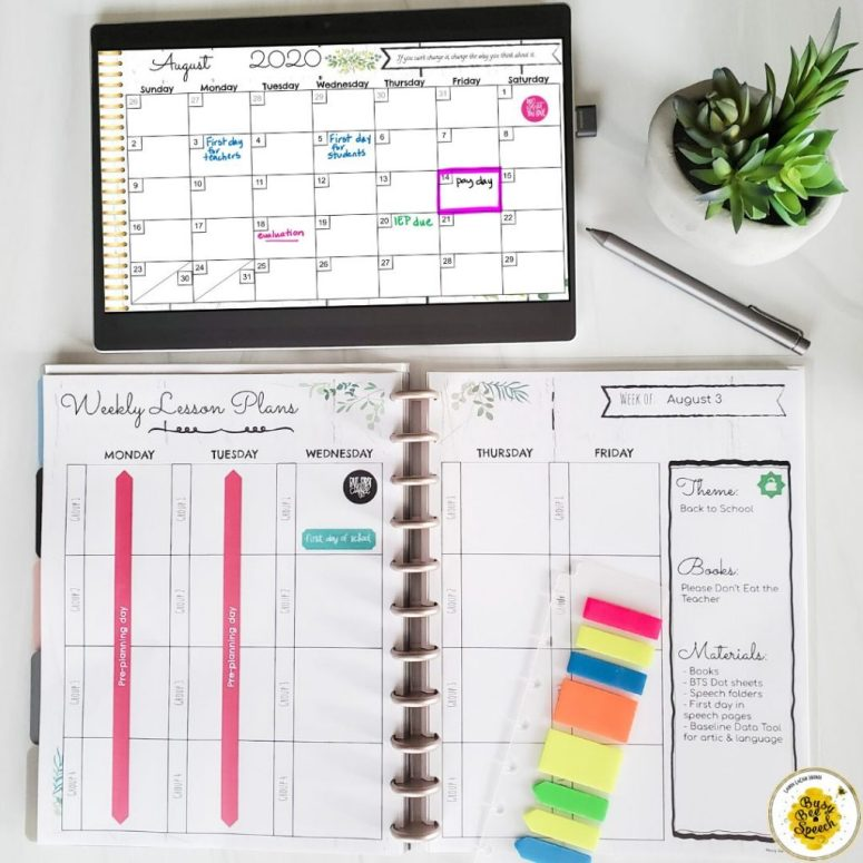 Digital and printable SLP planner