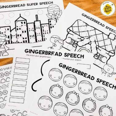 Gingerbread speech therapy worksheets