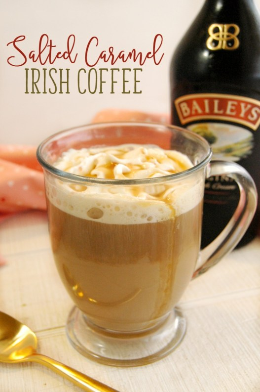 recipes for twenty super delicious hot drinks to warm you up during fall or winter! This Salted Caramel Irish Coffee is the PERFECT weekend relaxing drink! Just cozy up with a good book and you're set!