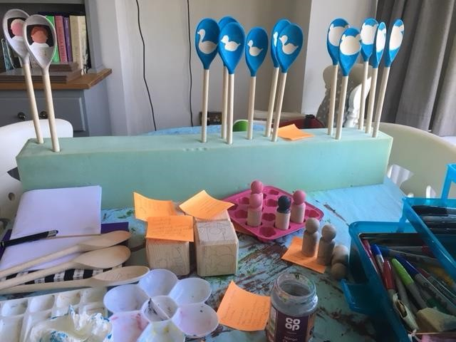 meet the mum behind the maker - busy busy learning - story props by Sian - handmade - handcrafted - UK - wooden toys - wooden story props - cubes - spoons - pegs - stones - rock art - stone art
