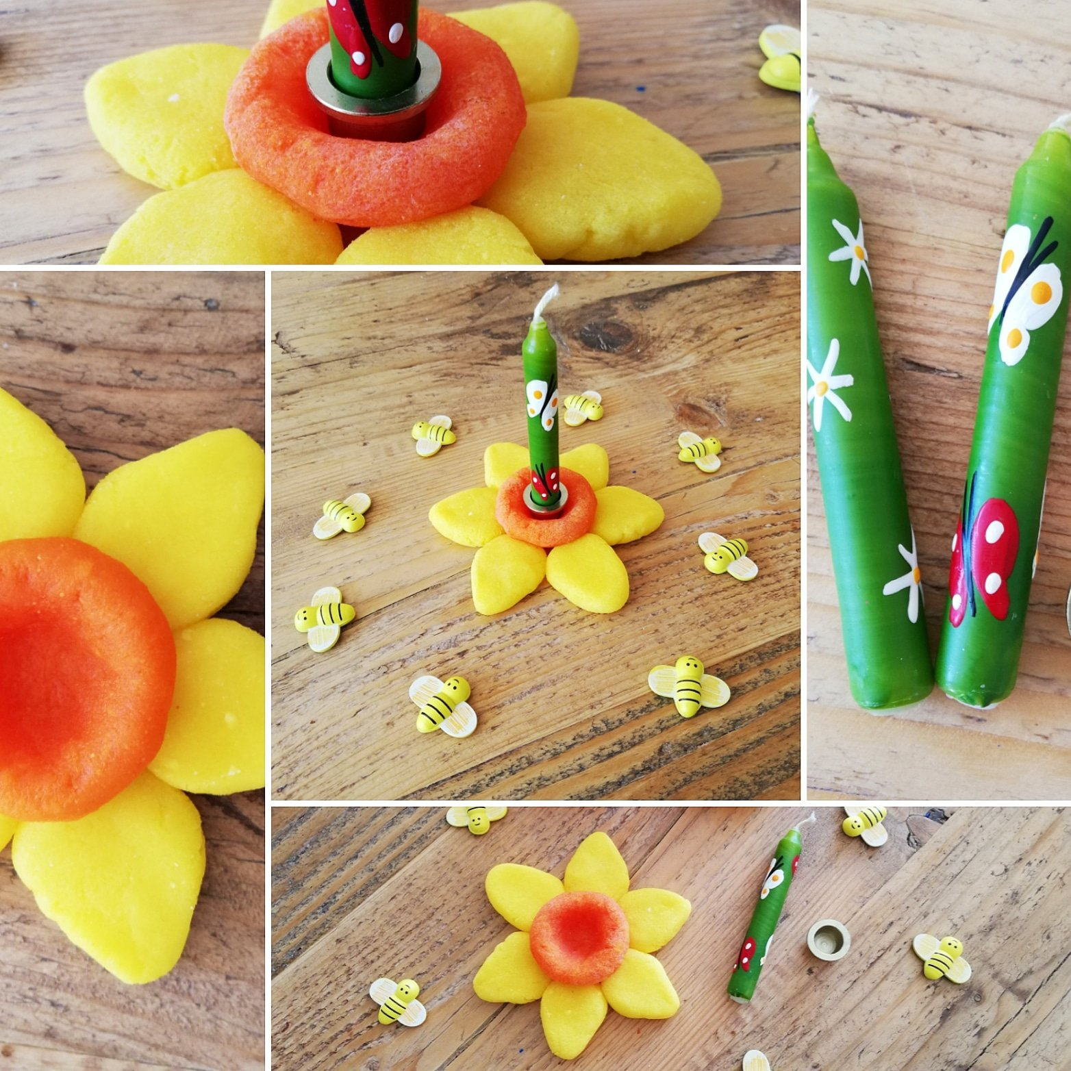 nature table - celebration rings - daffodils - candle holder - craft is therapy - making - creating - crafting - kids crafts - salt dough