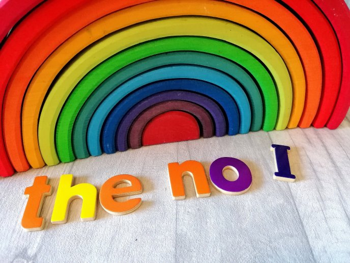 Tricky words the no and I on Grimms rainbow - phase 2 phonics - phases
