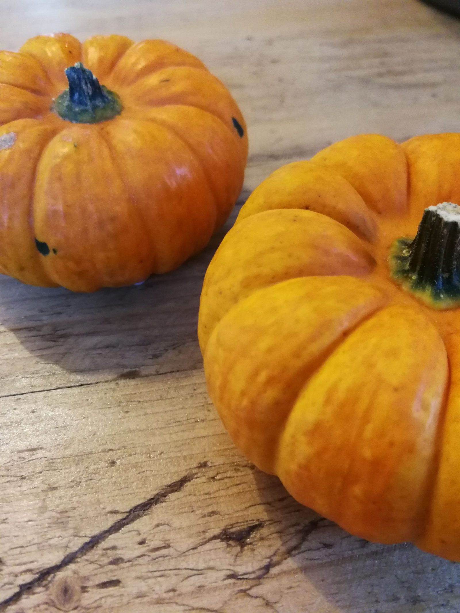 Two small pumpkins on a wooden table