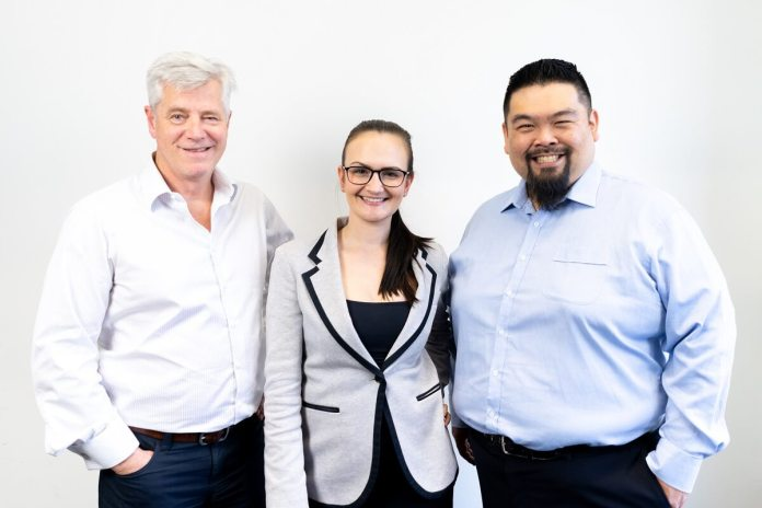 The Redback Connect team (L-R) Jeff Downs (CEO), Sara Drury (General Manager) and Peter Matsumoto (CTO)