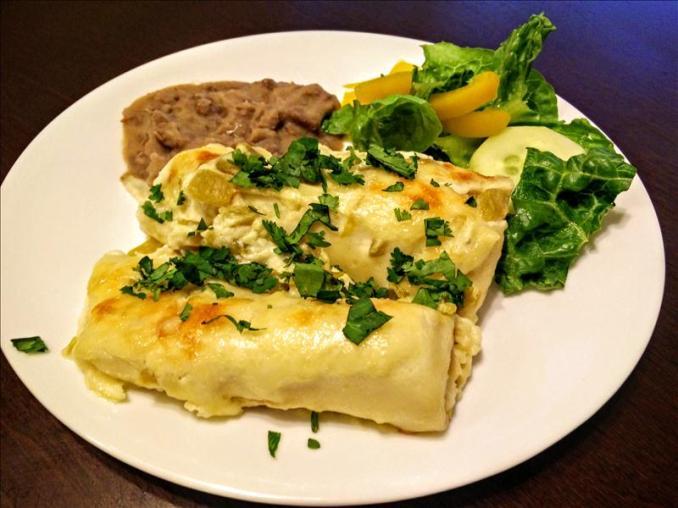 White Chicken Enchiladas with Flour Tortillas - Busy Mom