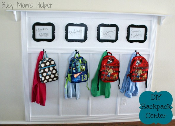 DIY Backpack Center / by Busy Mom's Helper #Tutorial #Remodel #HomeOrganizing