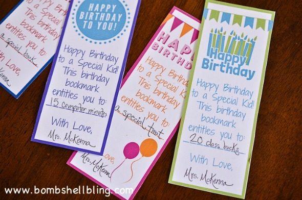 Happy Birthday bookmarks are perfect for teachers and parents! / Bombshell Bling