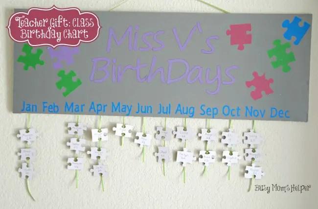 Teacher Gift: Class Birthday Chart / Busy Mom's Helper