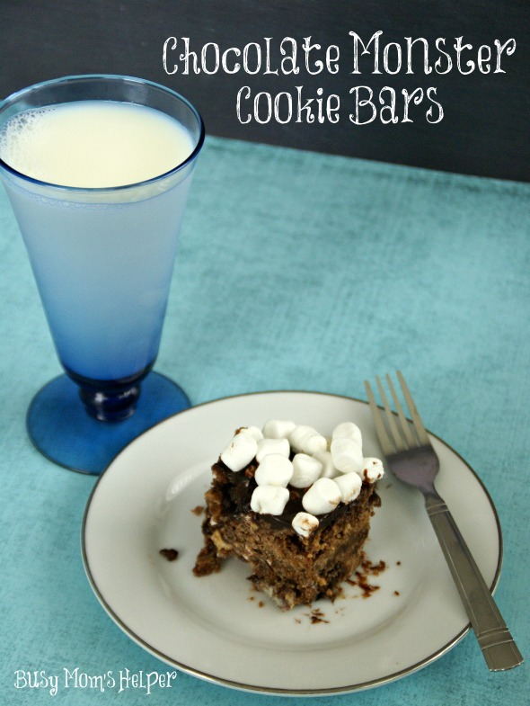 Chocolate Monster Cookie Bars / by www.BusyMomsHelper.com #chocolate #cookies #dessert