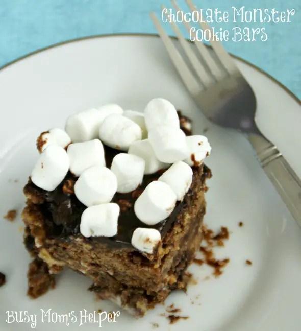 Chocolate Monster Cookie Bars / by www.BusyMomsHelper.com #chocolate #cookies #dessert