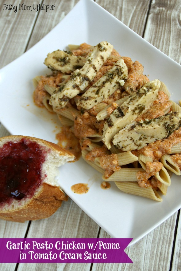 Garlic Pesto Chicken with Penne in Tomato Cream Sauce / by www.BusyMomsHelper.com #chicken #recipe #penne #pesto #sauce