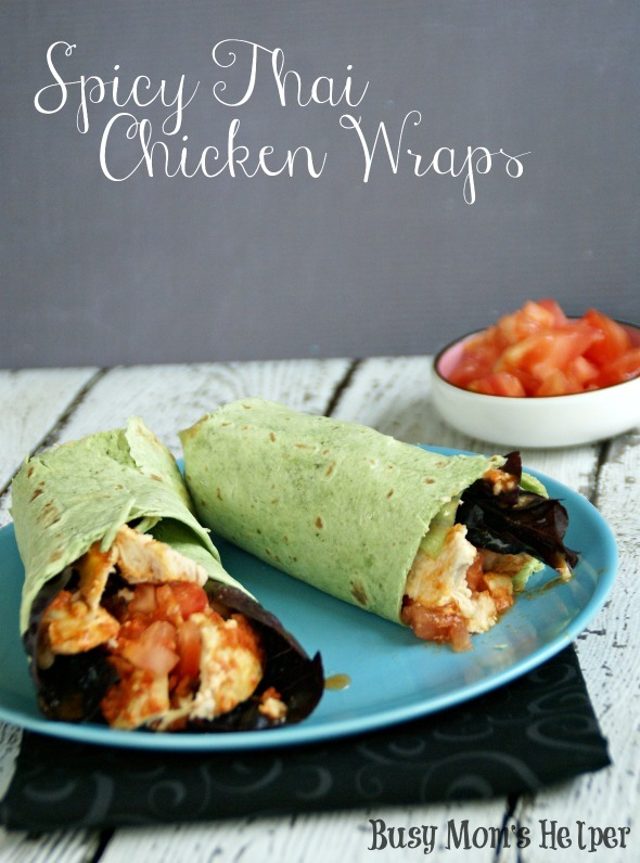 Spicy Thai Chicken Wraps / by www.BusyMomsHelper.com #chickenwrap #spicychicken