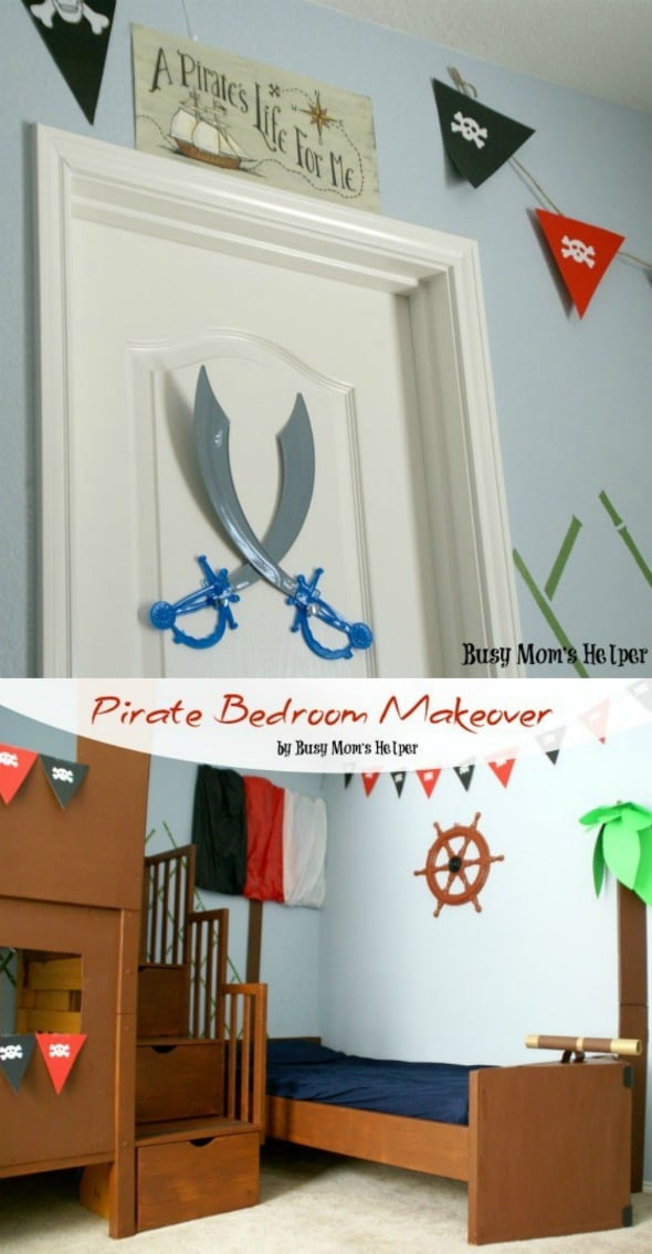 DIY Pirate Bedroom Makeover - complete with pirate ship bed, treehouse bunk bed & more! #pirate #bedroom #kidroom #kidbedroom #bedroommakeover #homediy