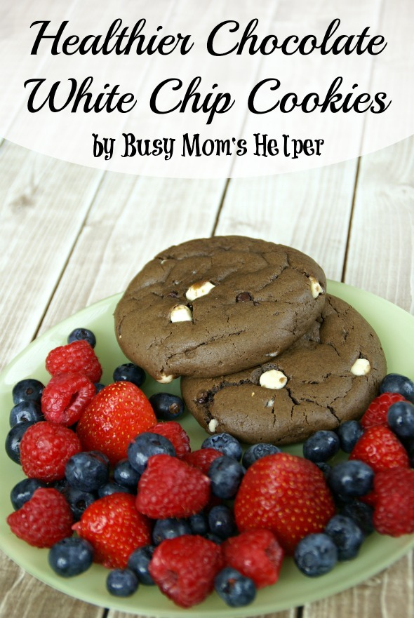 Healthier Chocolate White Chip Cookies / by Busy Mom's Helper #cookies #chocolate #healthydessert