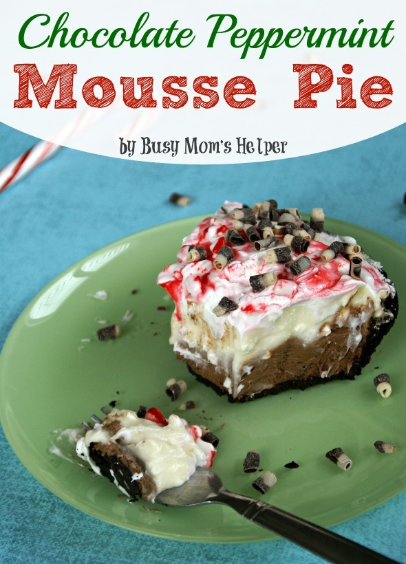 Chocolate Peppermint Mousse Pie / by Busy Mom's Helper #pie #chocolate #peppermint #holidaydesserts