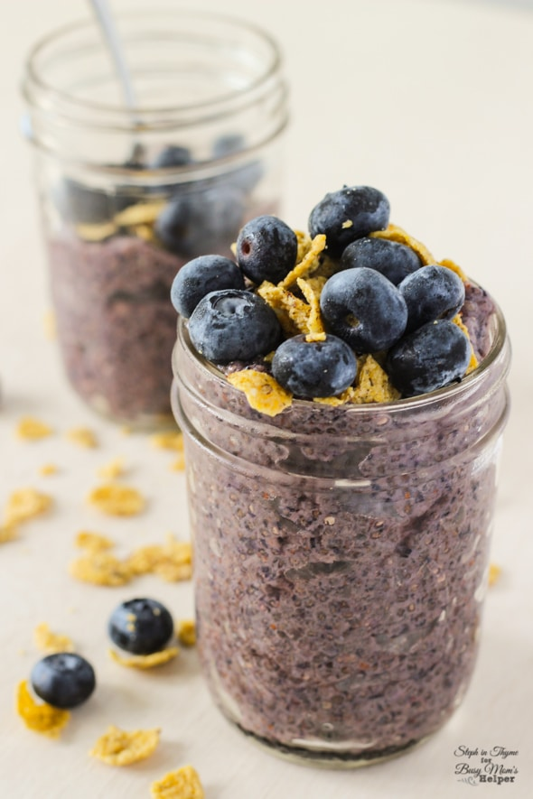 Blueberry Chia Breakfast Pudding l Steph in Thyme for Busy Mom's Helper