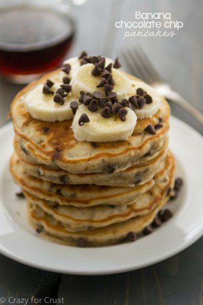 Banana Chocolate Chip Pancakes / by Crazy for Crust / Round up by Busy Mom's Helper