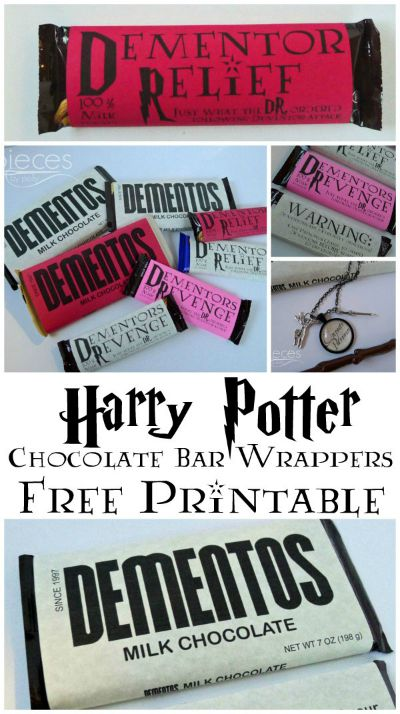 Harry Potter Chocolate Bar Wrapper Free Printable / by Pieces by Polly / Round up by Busy Mom's Helper
