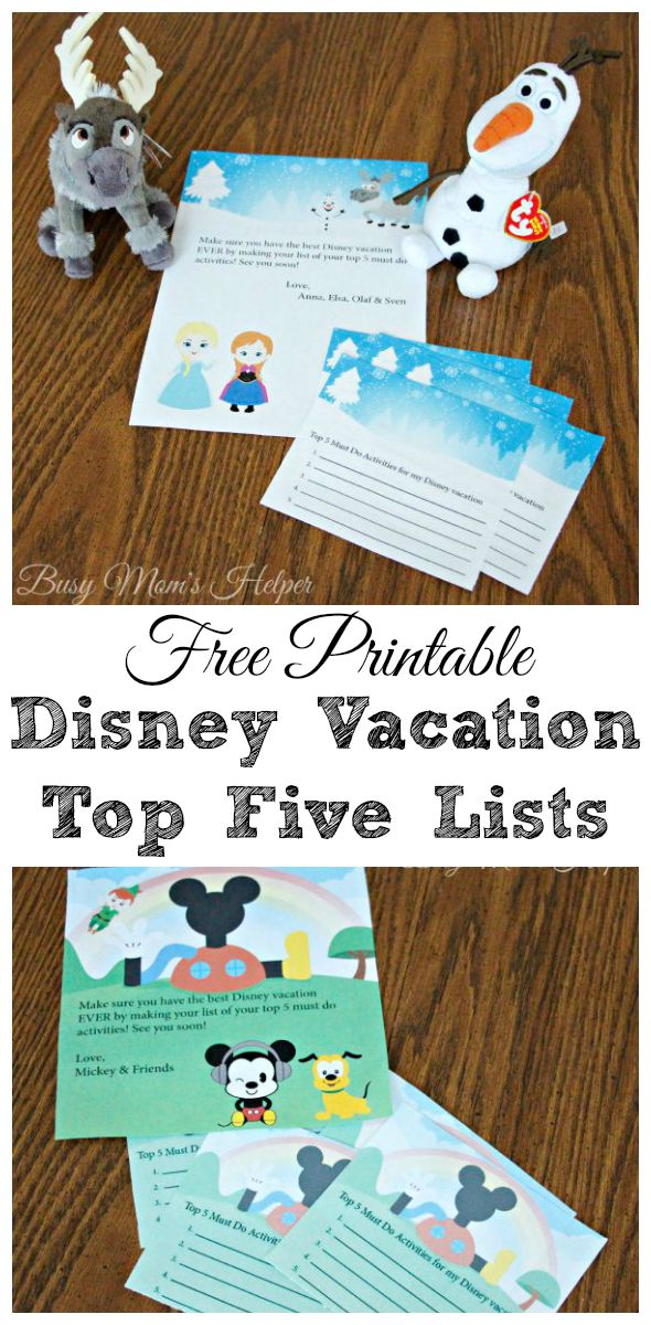 Free Printable Disney Vacation Top Five Lists / by Busy Mom's Helper
