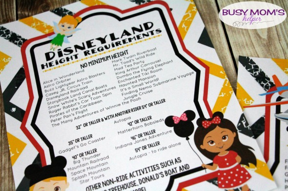 Free Printable Disneyland Ride List & Height Requirements #disneyland #disneyparks #freeprintable #disney #travel #familytravel #familyvacation #vacation #ridelist #themepark