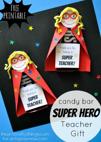 Superhero Candy Bar Teach Gift / by I Heart Crafty Things / Round up by Busy Mom's Helper