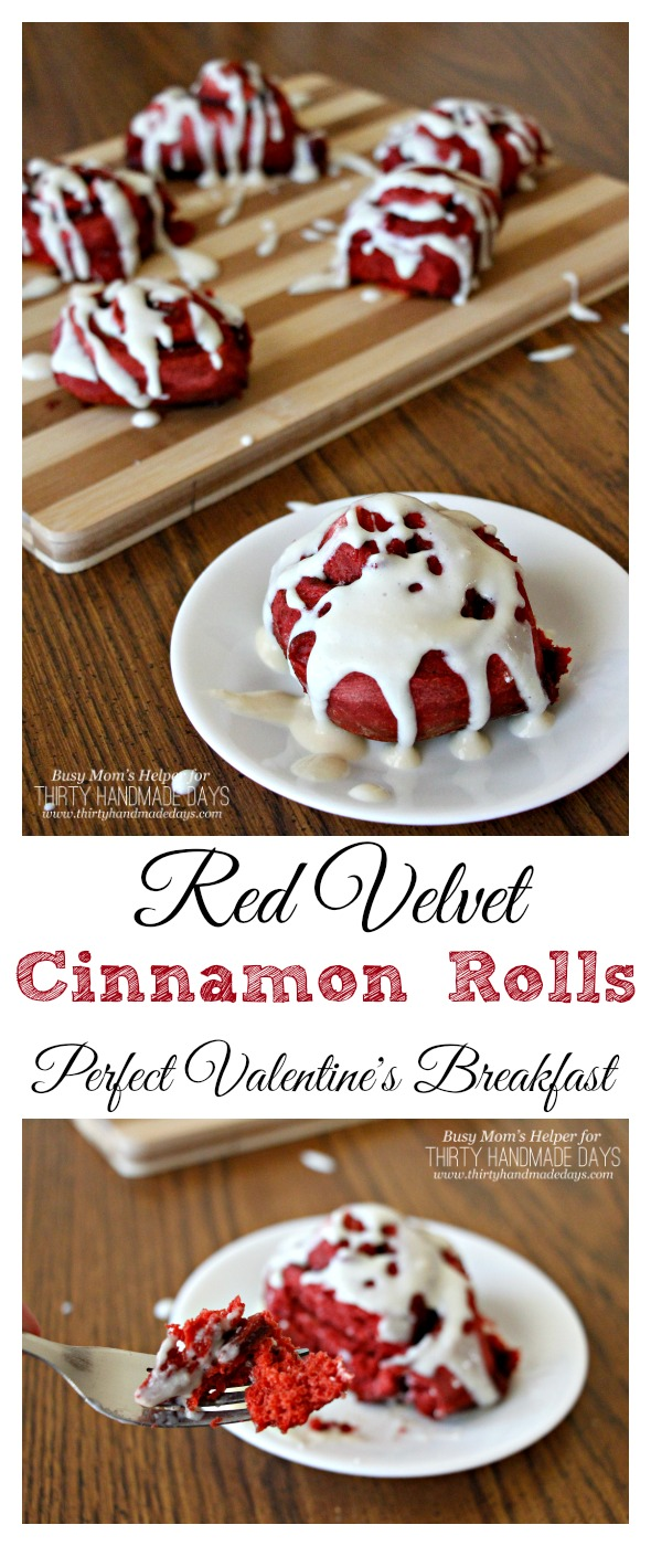 Red Velvet Cinnamon Rolls / the Perfect Valentine's Day Breakfast / by BusyMomsHelper.com for ThirtyHandmadeDays.com
