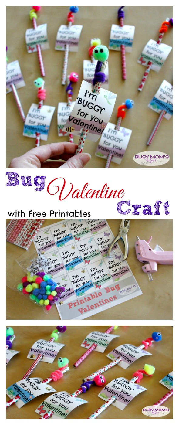 These super easy Bug Valentine pencils are the perfect Valentine for kids of any age! by BusyMomsHelper.com